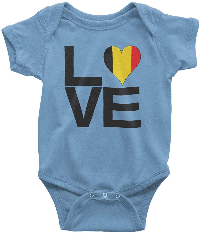HARD EDGE DESIGN Infants Love Block Belgium Heart Bodysuit, 6 Months, Carolina Blue
