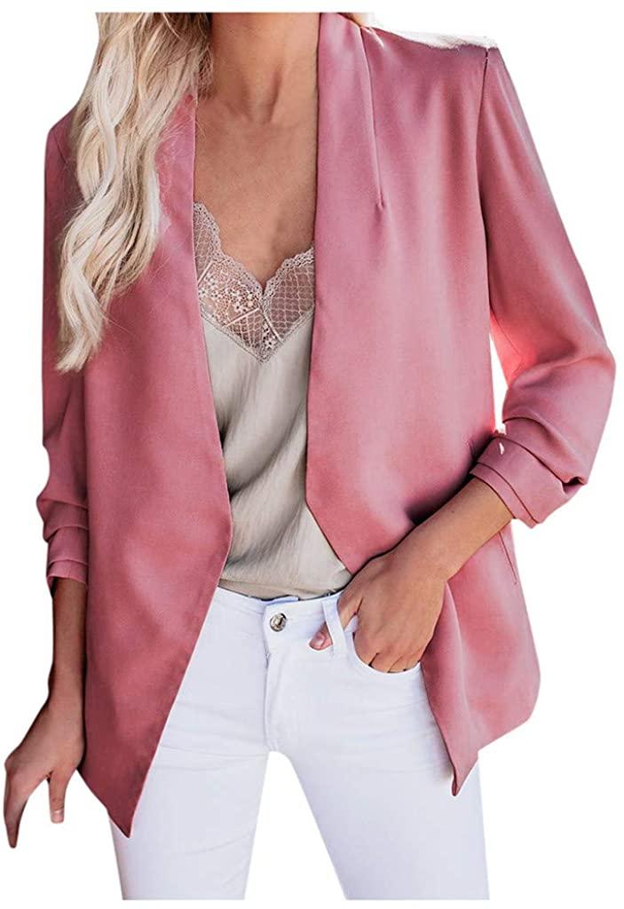 Elegant Blazer Suit Jacket Women - NRUTUP Open Front Blazer Suit Jacket, Classy Work Office Basic Blazer Suit Jacket (Watermelon Red, 4)