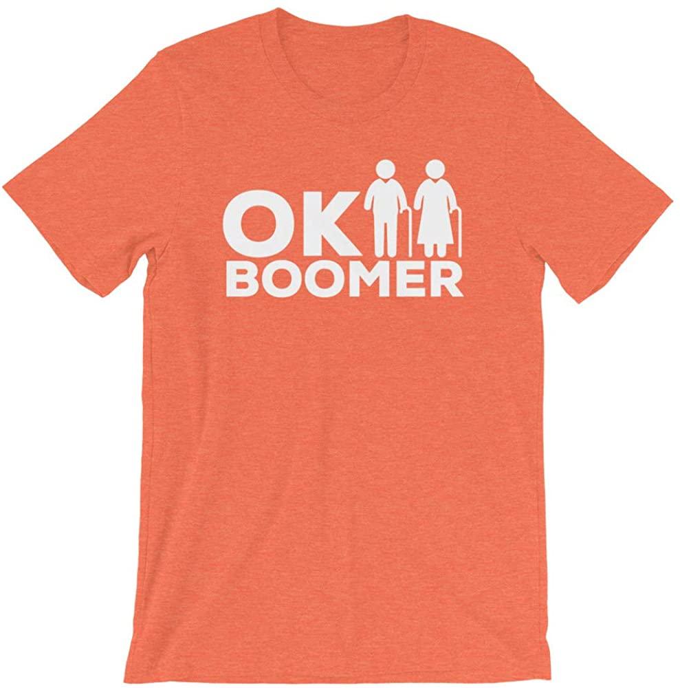 ARIES ASSEMBLY OK Boomer Shirt, Okay Boomer T-Shirt, VSCO Girl Shirt, TIK Tok Shirt, Meme Shirt, Funny Tshirt, Millennial Shirt,TikTok Shirt,Internet Shirt Heather Orange