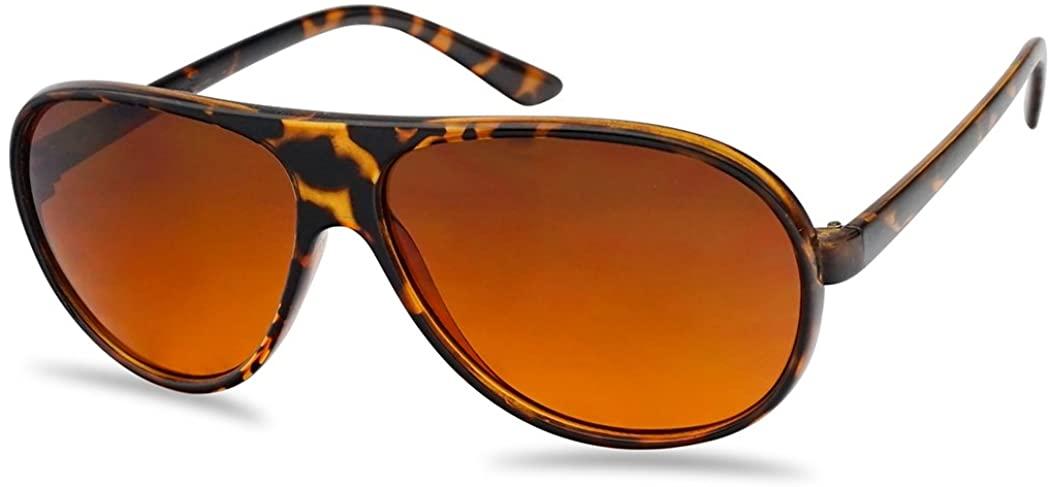 SunglassUP Demi Tortoise Round Plastic Aviator Large Sunglasses w/Blue Blocking Amber Lens