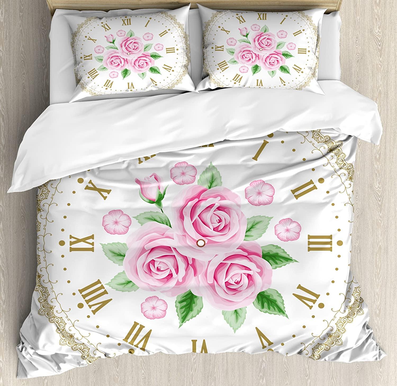 Ambesonne Shabby Flora Duvet Cover Set, Vintage Clock Face Roses Roman Numbers Antique Vintage Style, Decorative 3 Piece Bedding Set with 2 Pillow Shams, Queen Size, Khaki Pink