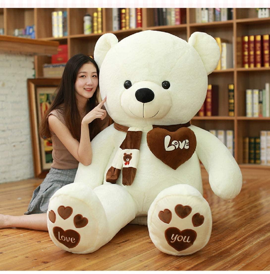 Happy Island Big Giant Cute Plush Teddy Bear, Scarf i Love You Heart, Huge Plush Animals Girl Children Girlfriend Valentine's Day (Brown White, 56inch)