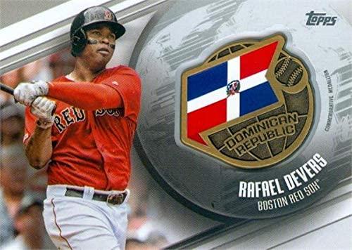 Rafael Devers commemorative global medallion patch baseball card (Boston Red Sox, Dominican Republic) 2020 Topps #GGMRD