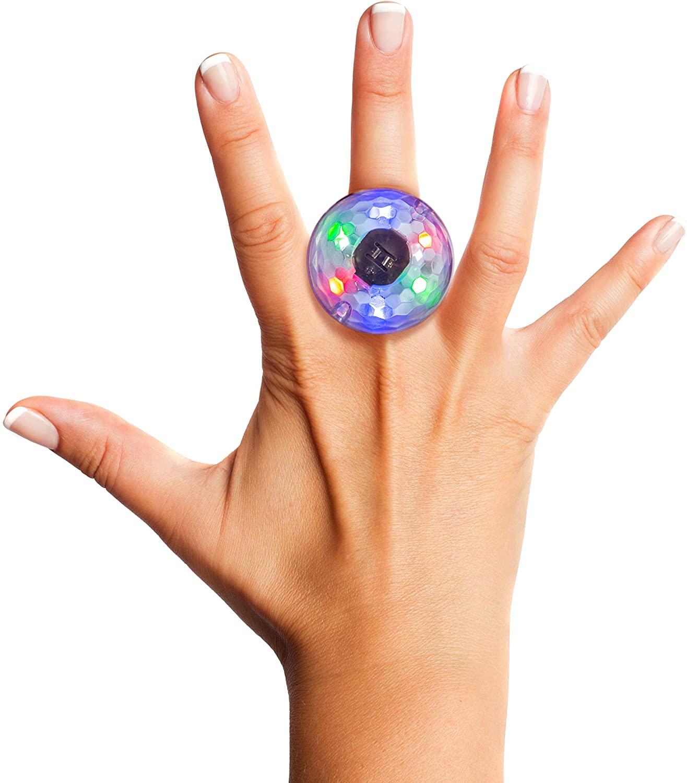 Disco Ring - Changes Color Based on Music, LED Lights for Kids, Sensor Light Rings, Birthday Party Favor for Kids, Flashing Rings Children's Party Favors