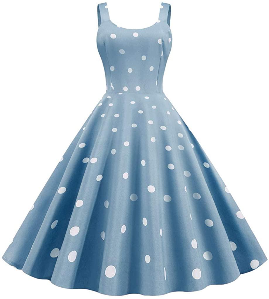TIANMI Women's Print Vintage Dress Sleeveless Fashion Ladies Casual Dress Plus Size Evening Party Prom Dress
