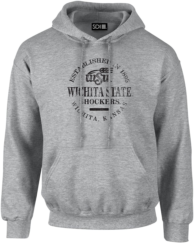 Wichita State Shockers Round 50/50 Blended 8 oz Hooded Sweatshirt, XX-Large, Sport Gray