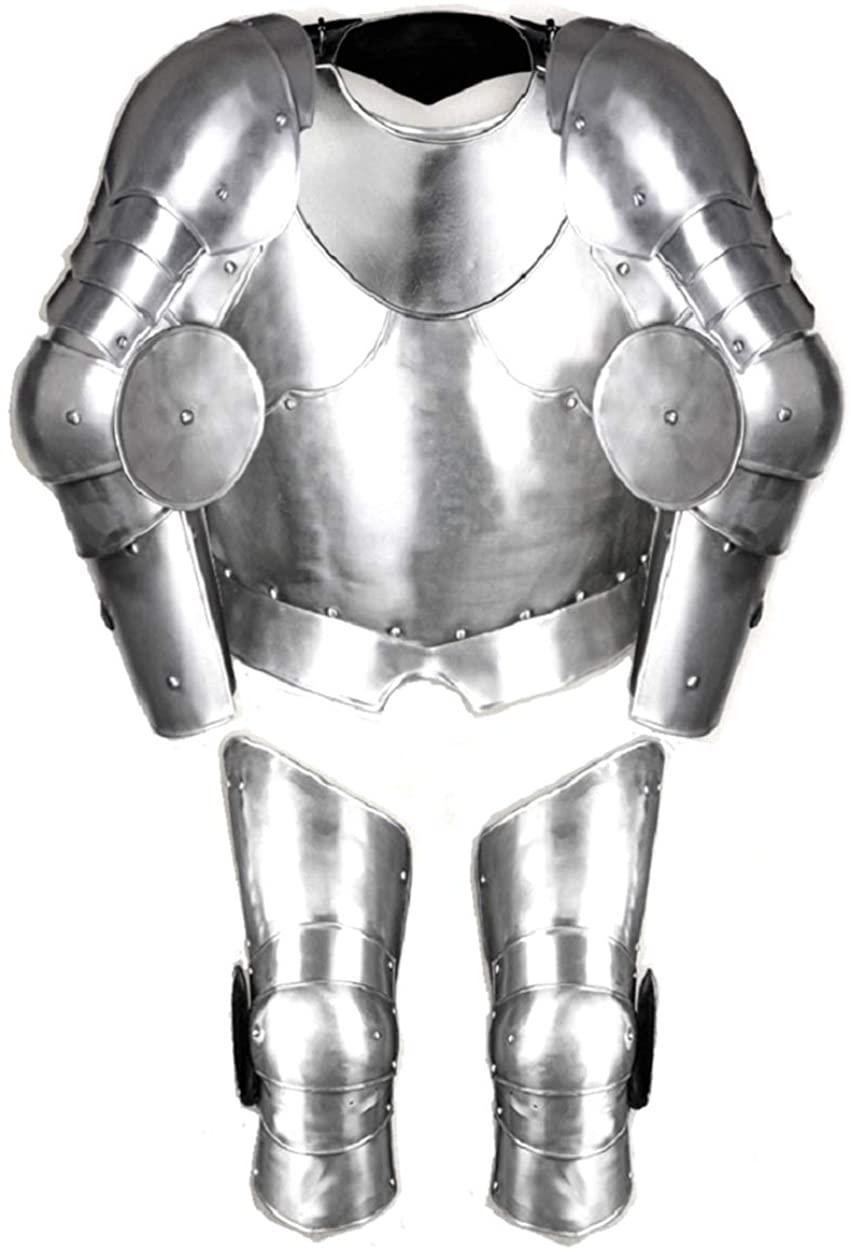 Gustav Large Set Steel Chestplate Gorget Pauldrons Full Arm Leg Armor LARP Costume