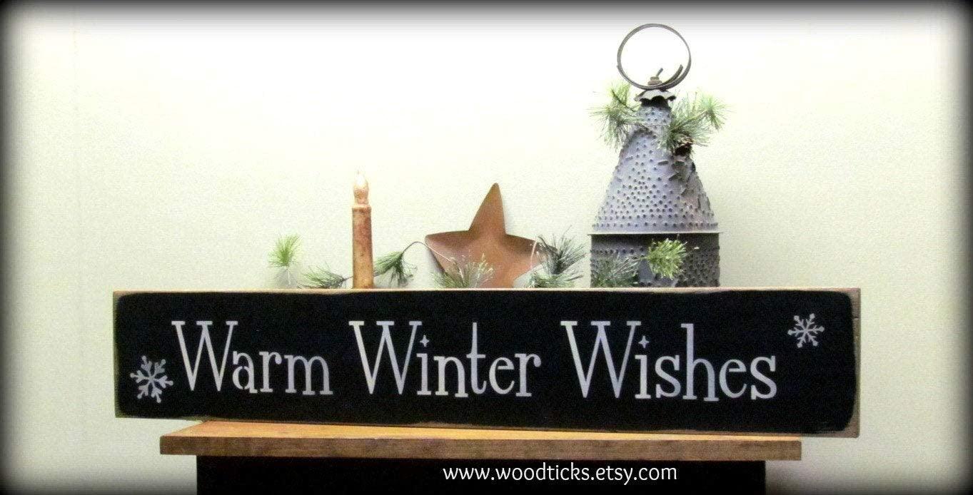 EricauBird Wood Sign,Winter Wood Sign, Holiday Decor, Warm Winter Wishes, Christmas Decoration 15x70cm Home Decor