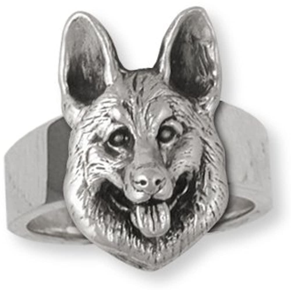 German Shepherd Jewelry Sterling Silver German Shepherd Ring Handmade Dog Jewelry GS23-R
