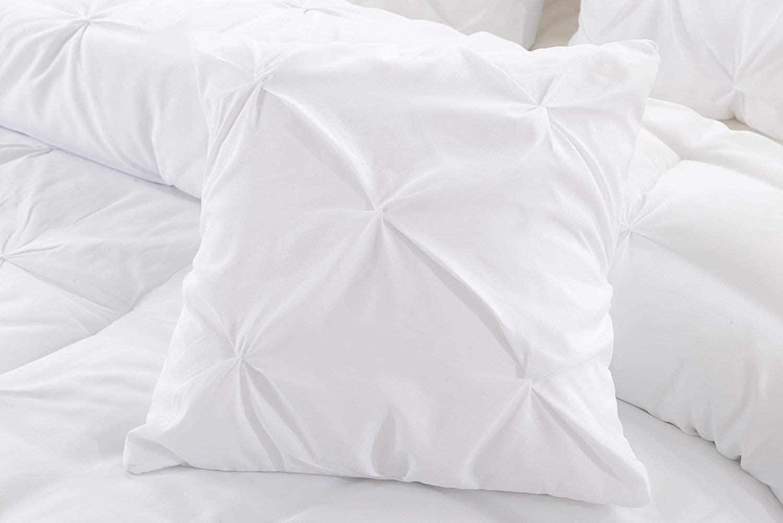 Natura Pura Premium 1000 Thread Count 100% Cotton Pillow Shams, Pinch Pleat Design, 24
