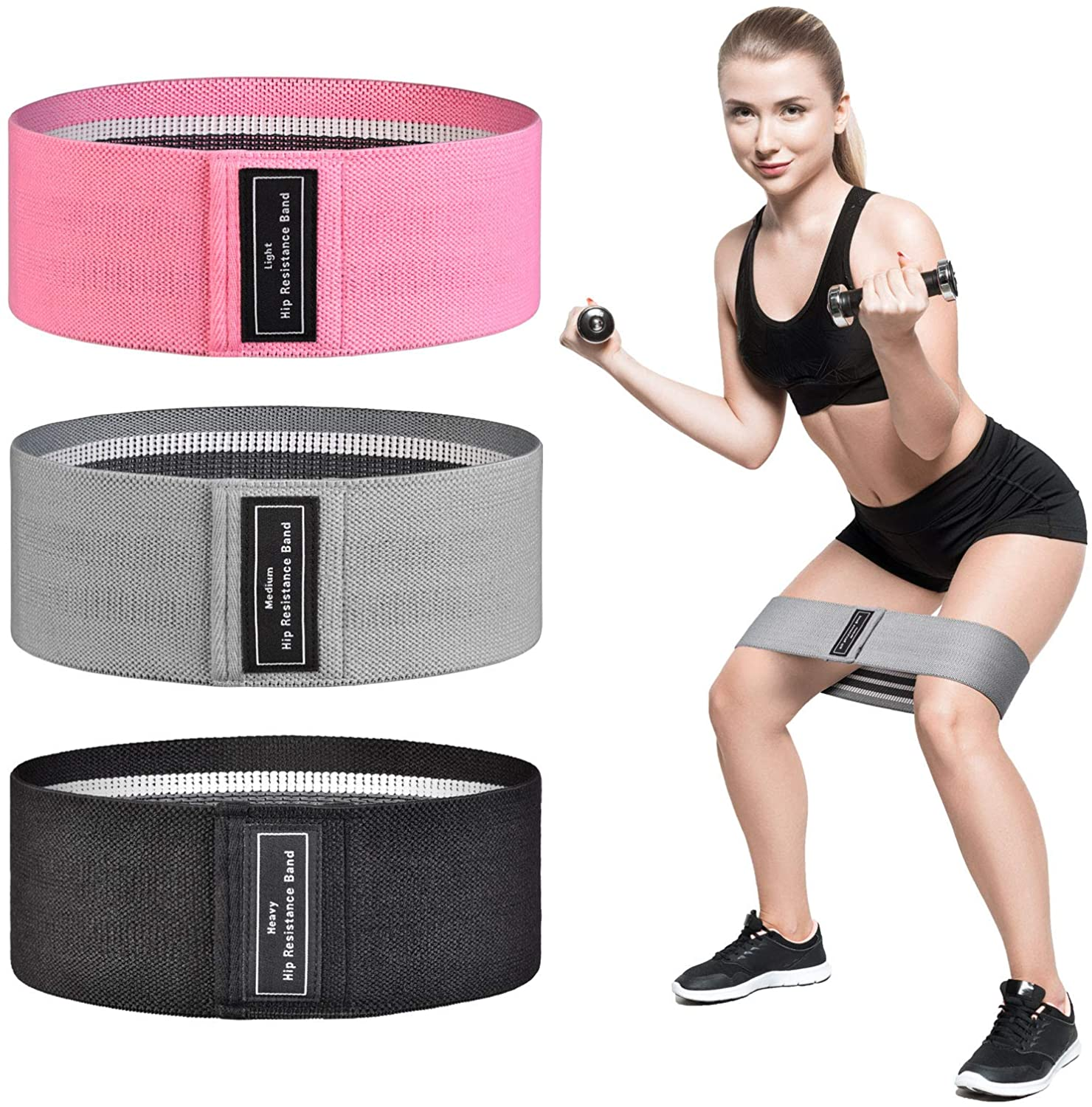 NEXISS Resistance Bands for Legs and Butt, Fabric Booty Bands, 3 Set Exercise Bands and Workout Bands,Strength Fitness Bands, Resistance Loops Hip Thigh Glute Bands