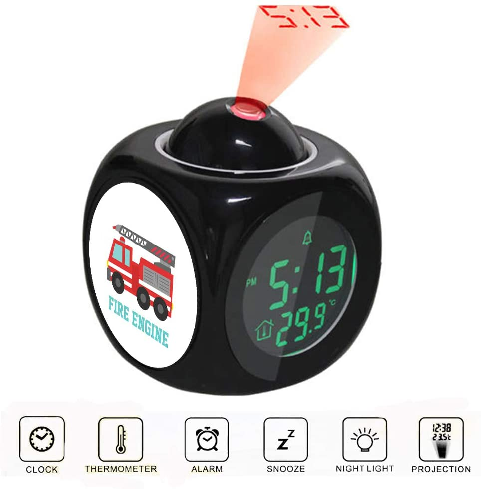 Projection Alarm Clock LCD Digital LED Display Talking with Voice Thermometer Function Desktop Cute Red Fire Truck for Boys