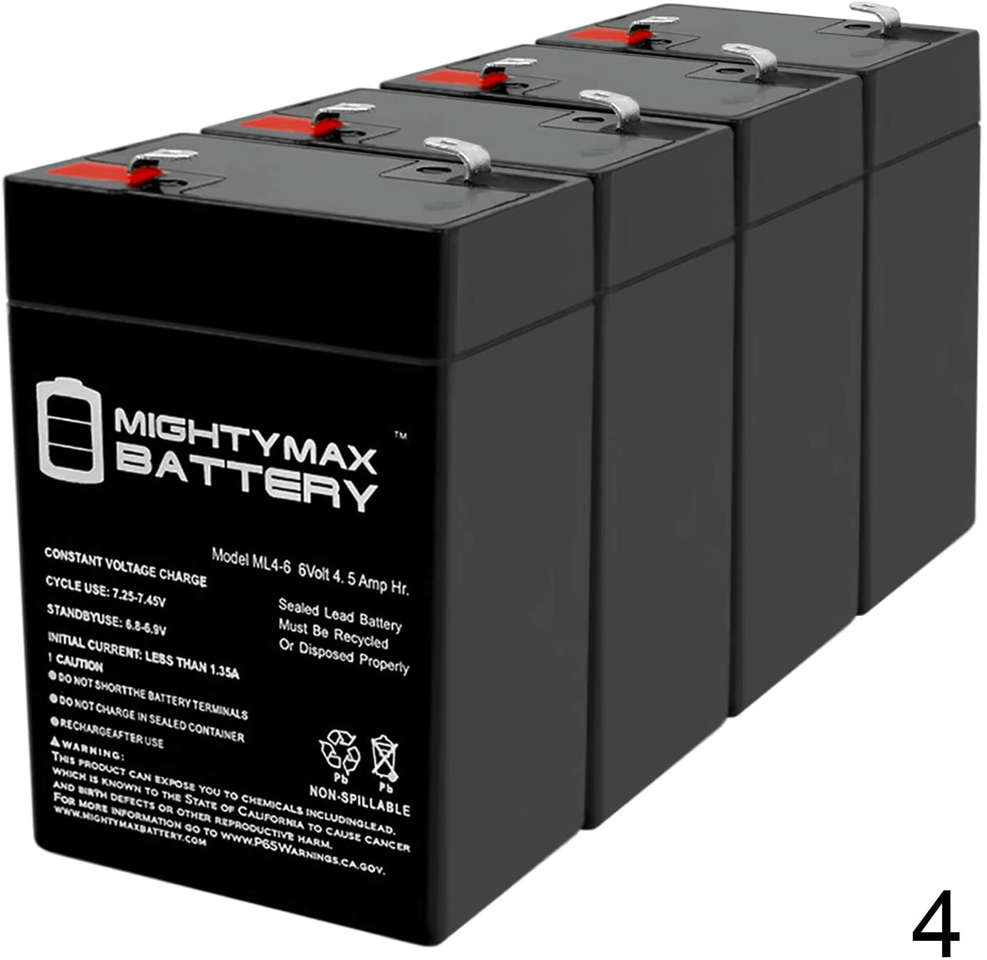 Mighty Max Battery ML4-6 - 6V 4.5AH Mojo Outdoors Standard Battery Replacement - 4 Pack Brand Product
