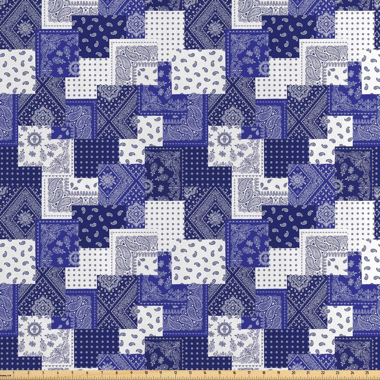 Lunarable Geometric Fabric by The Yard, Eastern Inspirations Canonical Paisley and Floral Composition Squares, Decorative Satin Fabric for Home Textiles and Crafts, 10 Yards, Dark Blue Cobalt Blue