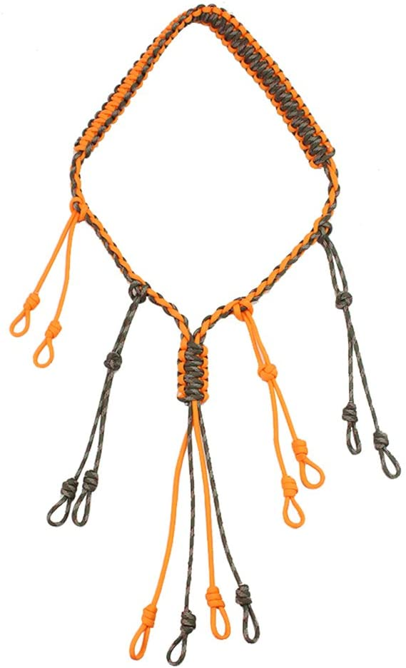 PSKOOK Duck Call Lanyard Paracord Hunting Goose Calls 12 Adjustable Loops Outdoor Predator Gear for Pheasant Waterfowl Hand Braided Necklace