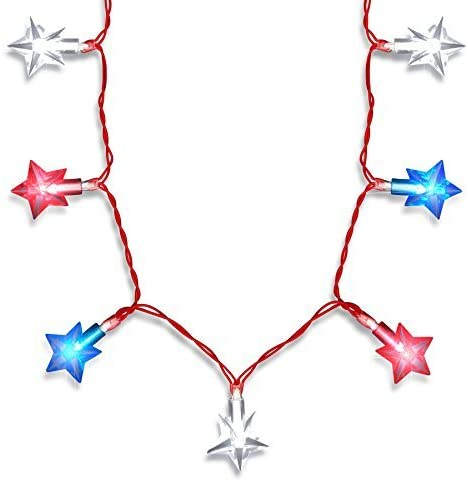 Red, White and Blue Light Up LED Stars Necklace