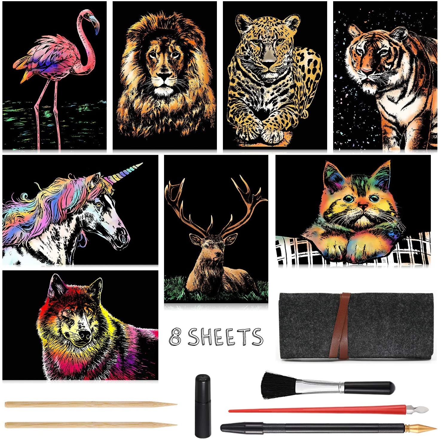Scratch Art for Kids & Adults, Rainbow Painting Night View Scratchboard(A4), Crafts Set: 8 Sheets Scratch Cards with 6 tools in Bag - Unicorn/Flamingo/Cat/Deer/Lion/Tiger/Leopard/Wolf (Animal Series)
