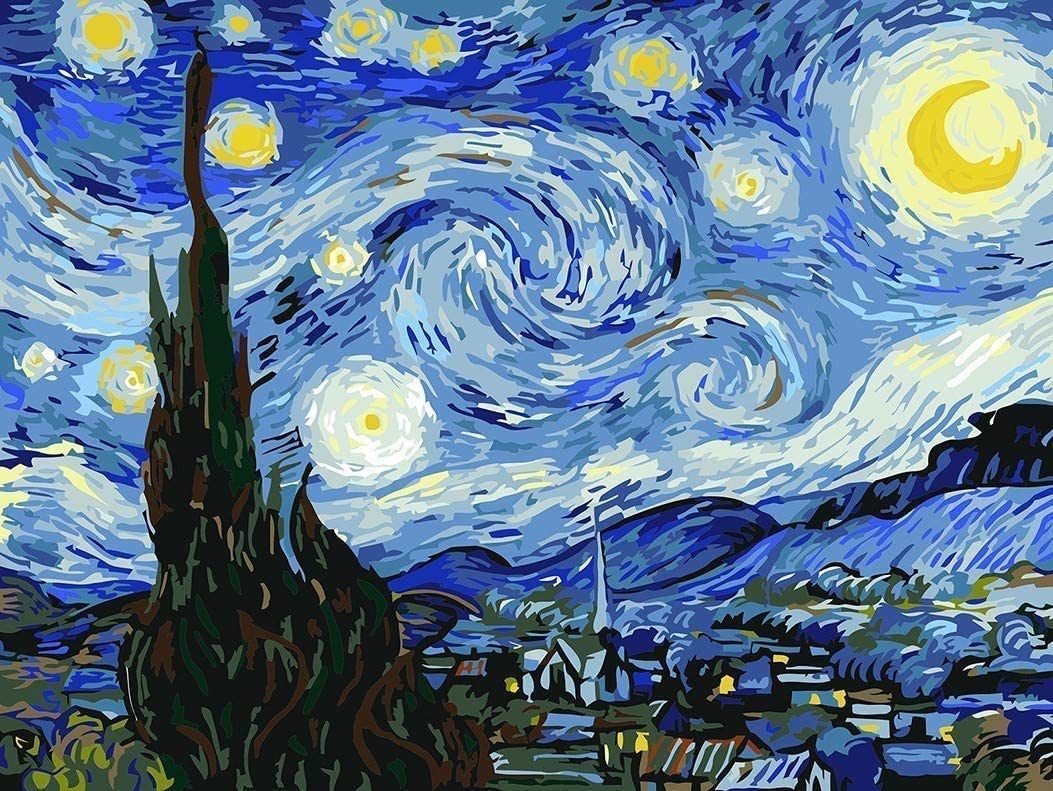5D DIY Crystal Full Diamond Painting Van Gogh The Starry Night Round Drill Rhinestone Painting Embroidery for Wall Decoration 12X16inch