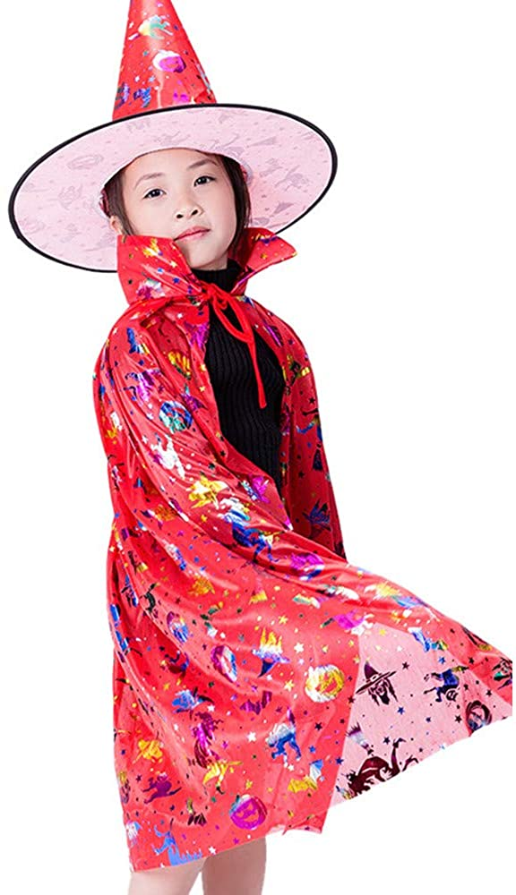 MITOWERMI Halloween Costumes Witch Wizard Cloak with Hat for Kids Boys Girls Cosplay Party