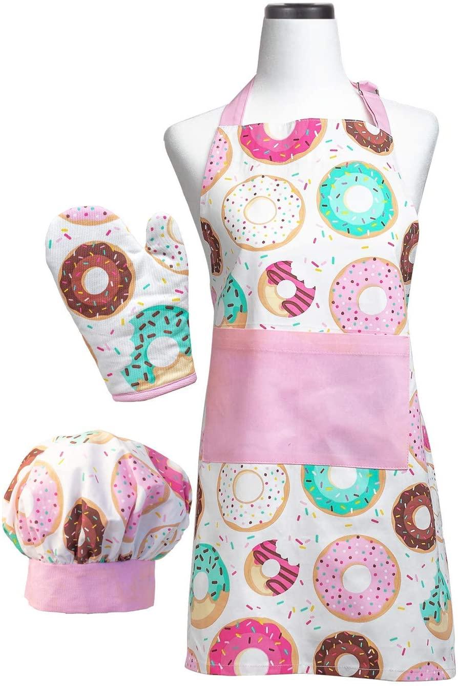 Handstand Kitchen Child's Donut Shoppe 100% Cotton Apron, Mitt and Chef's Hat Set