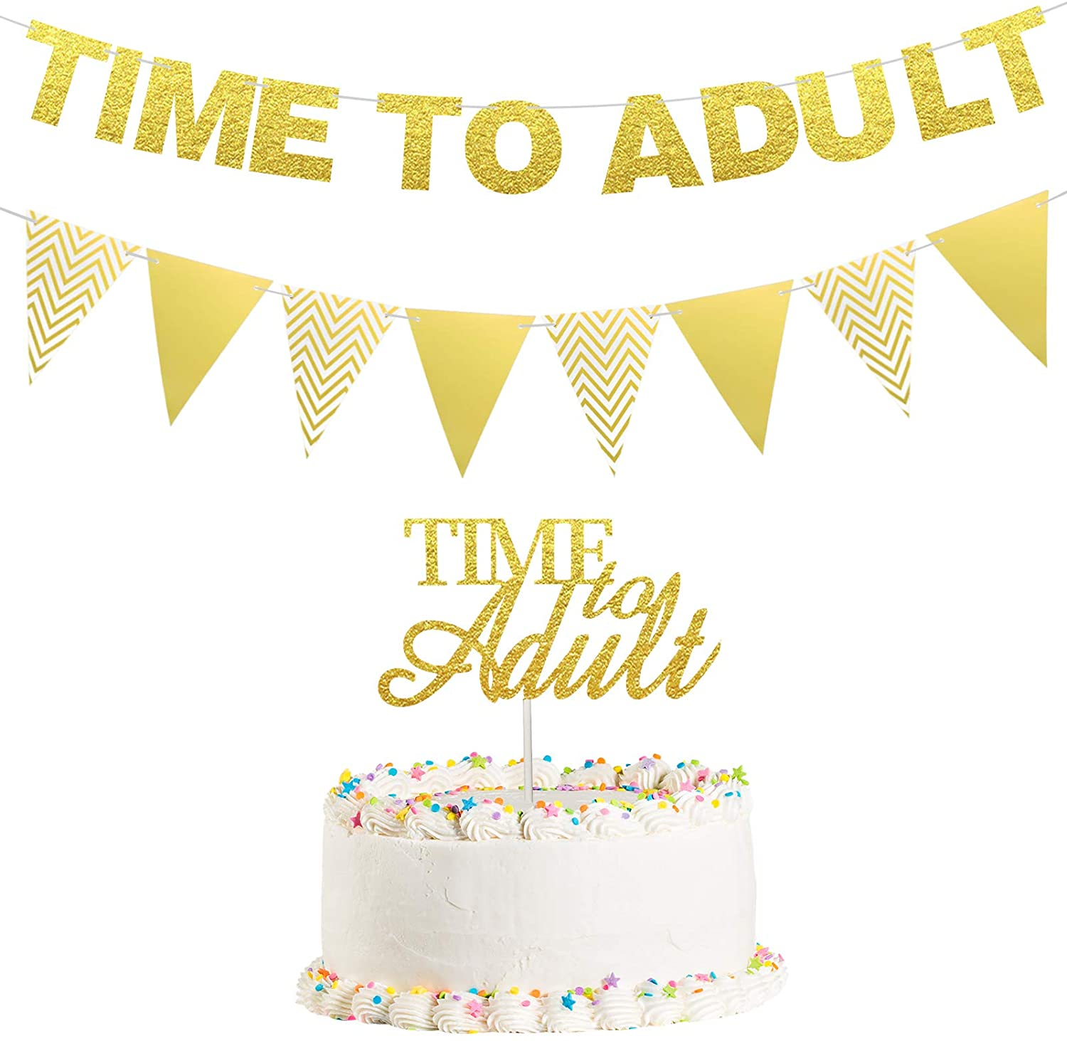 Time to Adult Banner Gold Glitter 18th Birthday Banner Triangle Flag Banner Time to Adult Cake Topper for Adult Birthday Party Supplies 18 Years Old Party Decorations, Pre-Strung