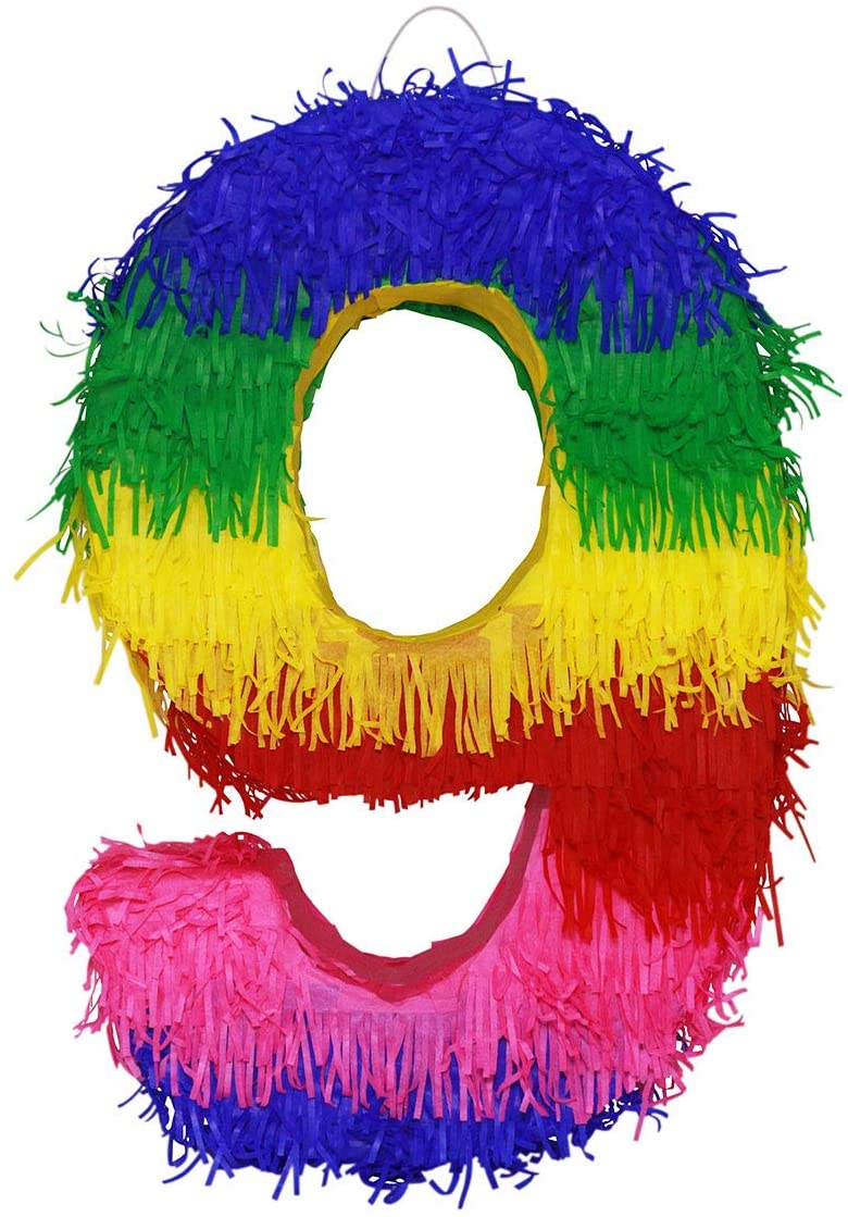 Lytio Number Multicolor Party Small Pinata for Birthday, Centerpiece Decoration, Anniversary, Décor, Photo Prop, Party Supplies, Mexican Piñata Game (Number 9)