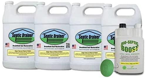 Septic Drainer Repair Kit - New Formula - 4 Gals of Septic Drain Field Treatment Plus 1 Quart of Bio-Septic Boost and Septi-Marker | Repair Your Drain Field | Designed for 1500 Gallon Tank Systems