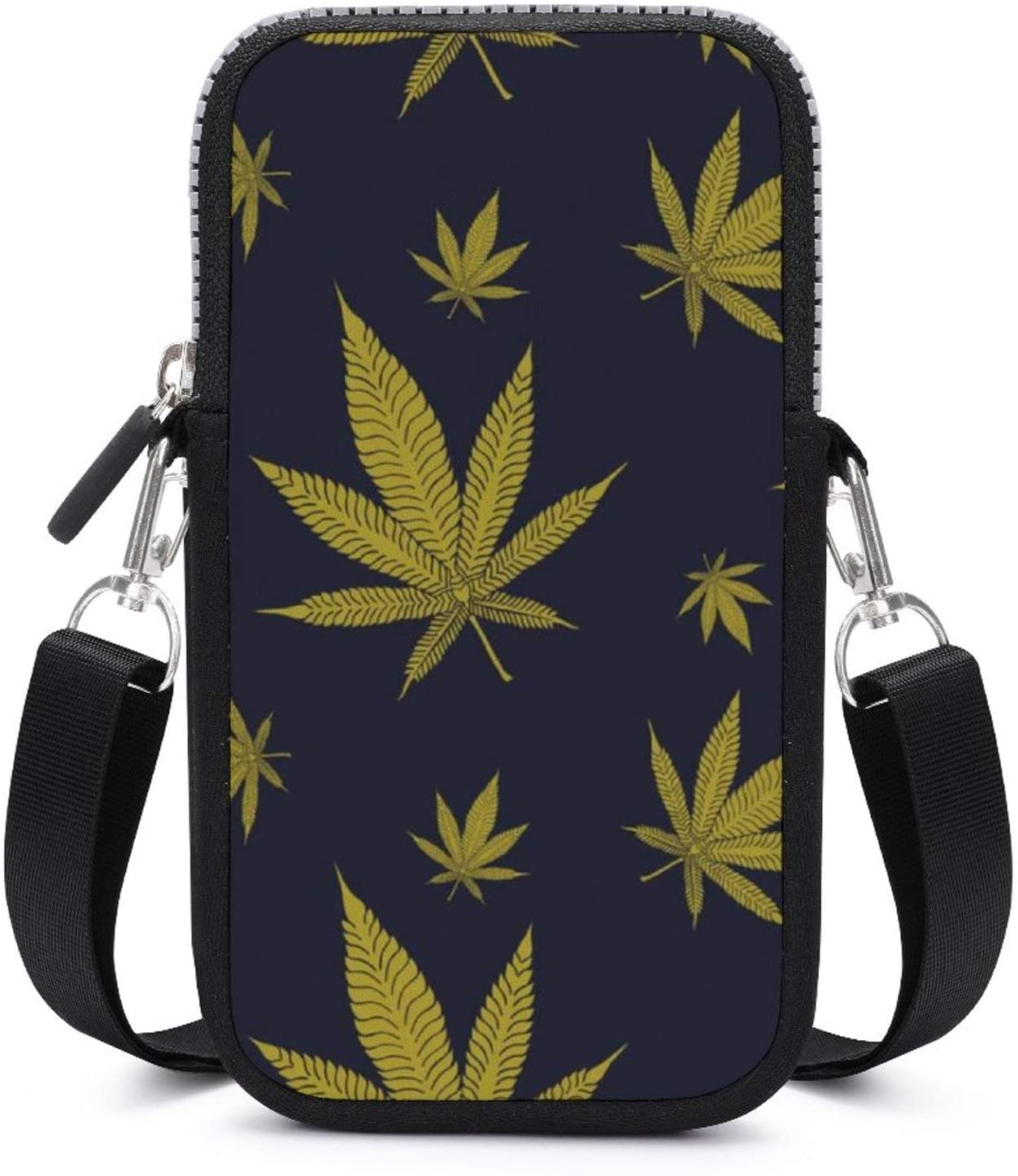 NiYoung Womens and Girls Phone Bag Wallet Crossbody Phone Holder Pouch (Marijuana Weed Cannabis Leaves Pattern)