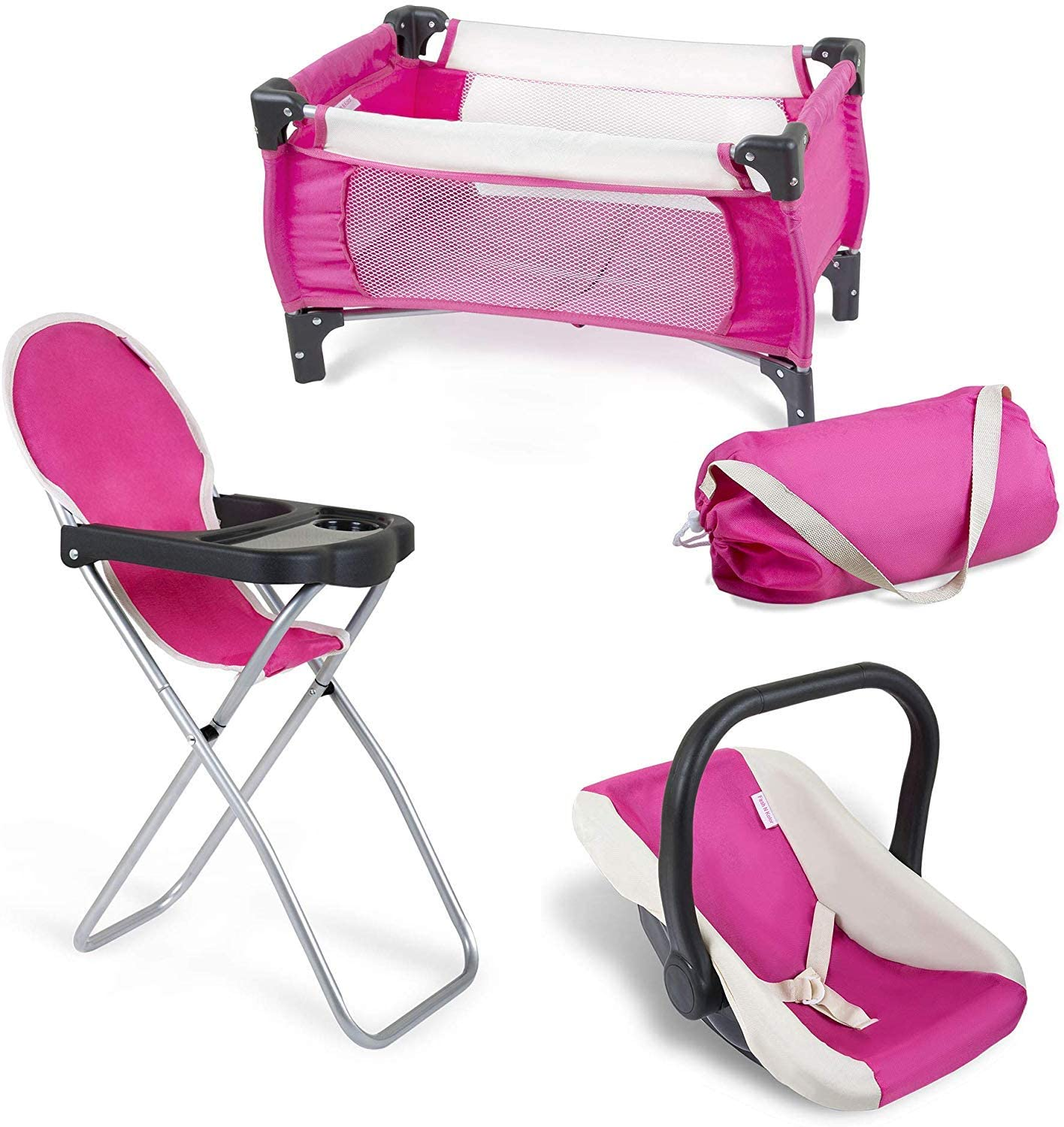 fash n kolor 3 Piece Set Pink and Cream Baby Doll Accessories, Includes 1 Pack N Play. 2.Doll High Chair. 3.Infant Seat, Fits Up to 18'' Doll (3pc Set)