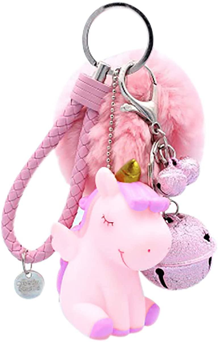 Cute Fur Ball Pom Pom Keychain with Unicorn Small Bell Princess Keyring for Women Bag Purse Car Decoration