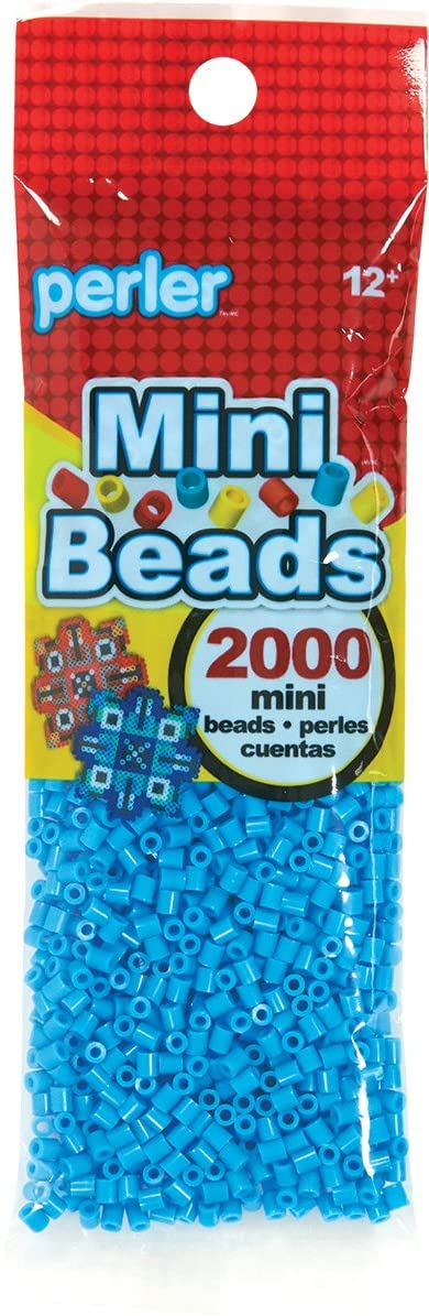 Perler Turquoise Blue Mini Beads for Kids Crafts, 2000 pcs