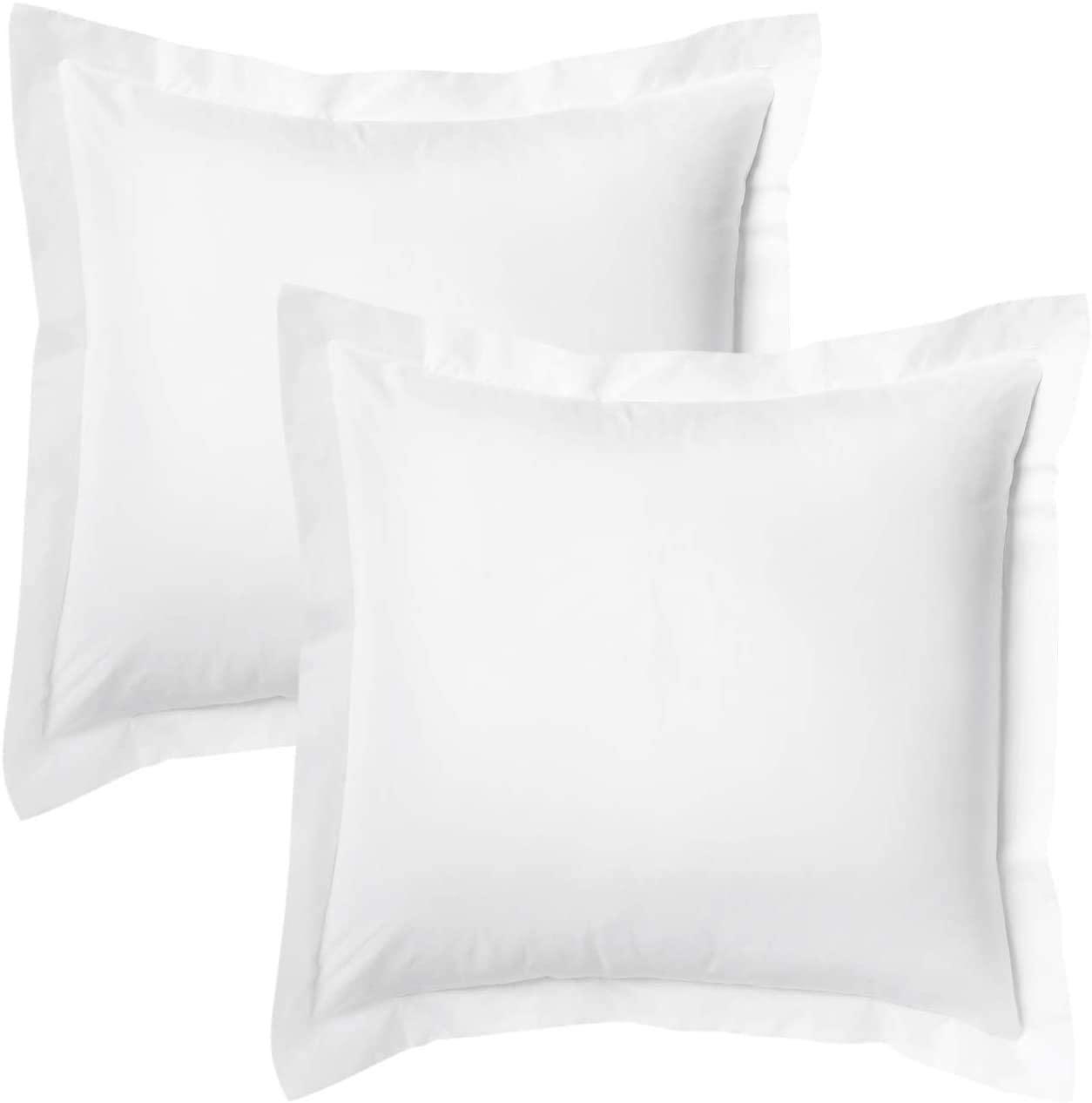 United Homes Luxurious 1000 Thread Count, Pillow Sham 100% Cotton, 2 Inch Border Pillow Cover, (Euro/European Sized 26 by 26 inch) White, Set of 2