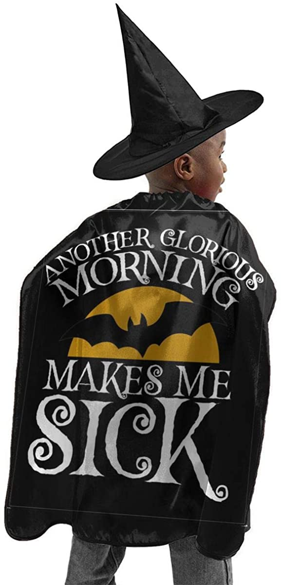 Halloween Costume 2 Pcs Another-Glorious-Morning-Makesmesick-Black-Post-Garment Halloween Wizard Hat Cape Cloak Boy and Girl Party Costume