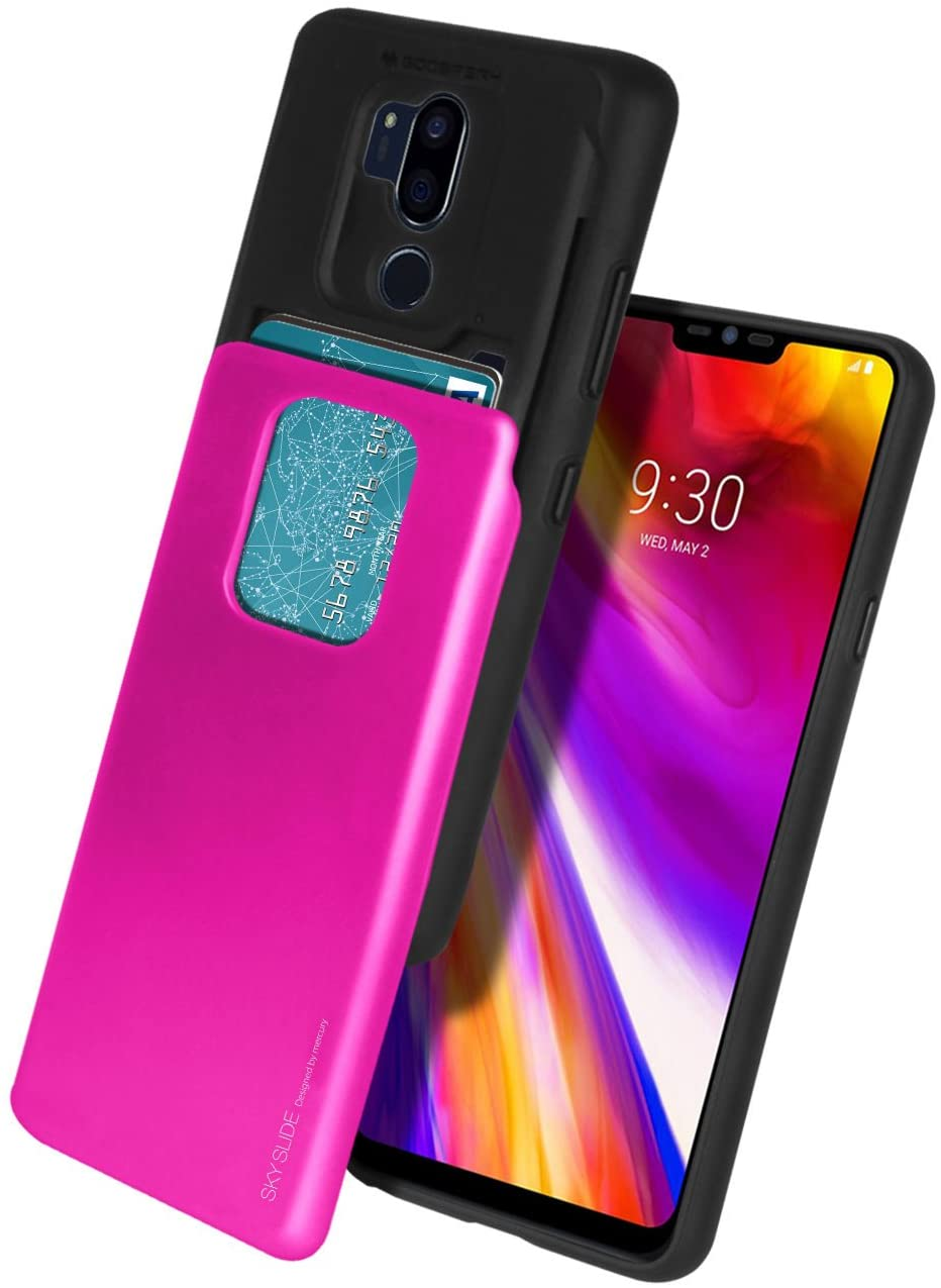 LG G7 ThinQ Case, LG G7 Case, Mercury [Sliding Card Holder] Protective Dual Layer Bumper [TPU+PC] Cover with Card Slot Wallet for LG G7 ThinQ (Hot Pink) LGG7-SKY-HPNK