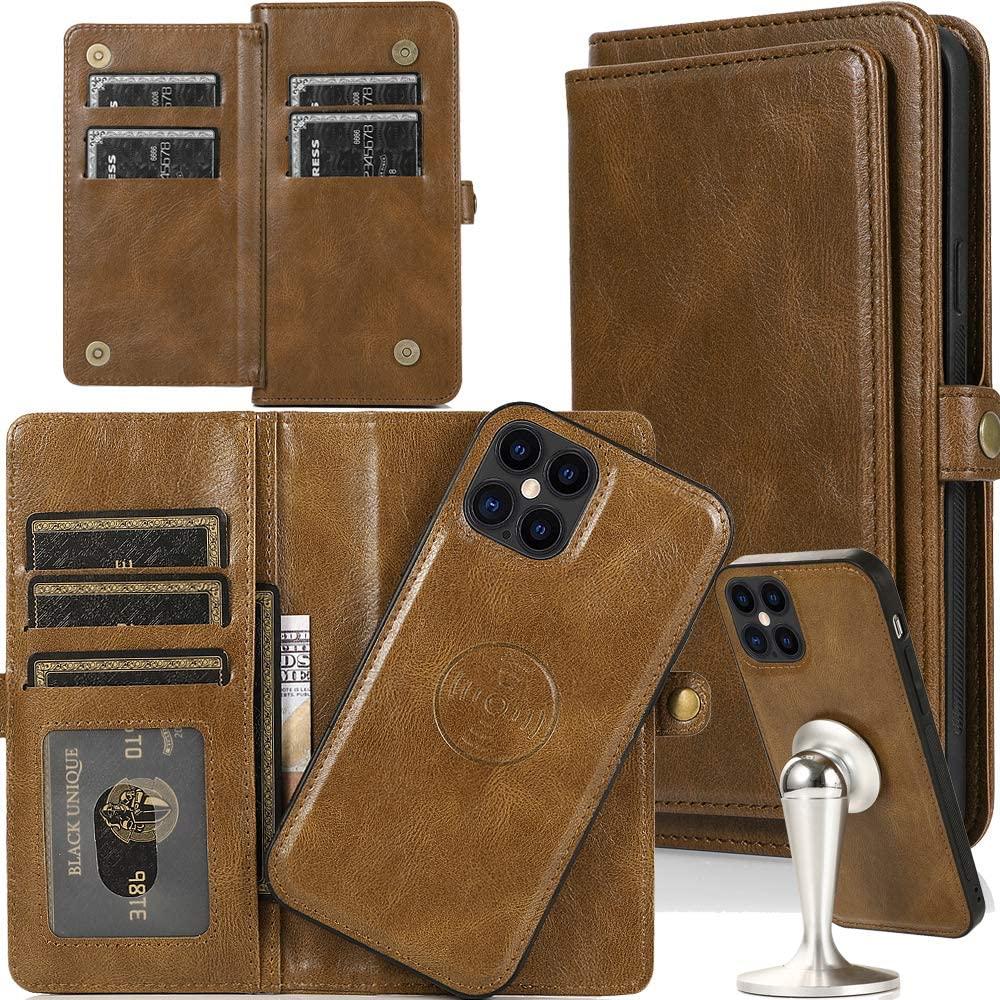 "iPhone 12 Wallet Case for Women/Men,Auker iPhone 12 Pro 6.1"" Folio Flip Leather [Magnetic Detachable] Hidden Pocket Wallet Clutch with 7 Card Holder&Removal Hard Case Fold Stand Wristlet Purse Case"