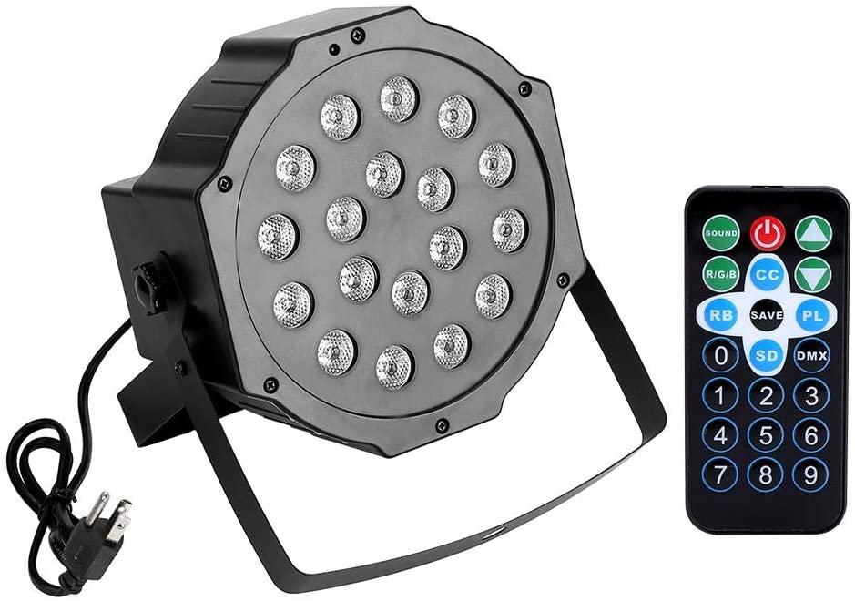 18 LEDs Disco Stage Light, Party RGB Lamp DJ DMX512 Control Spotlight Flat Par Lights