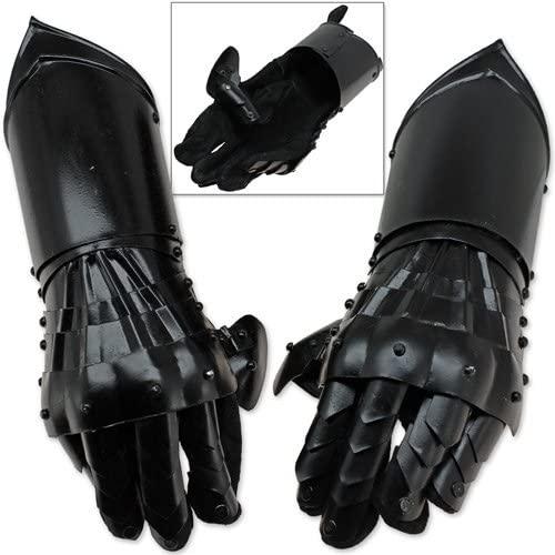 Swordsaxe Undead Medieval Conquest Armor Gauntlets of Dexterity Night Warrior Black - 18G Functional Carbon Steel