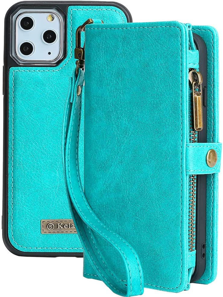 iPhone 11 Pro Max Wallet Case,kelaSip Leather Wallet Phone Case & Card Holder Buckle Magnetic Detachable,Blue,for iPhone 11 Pro Max