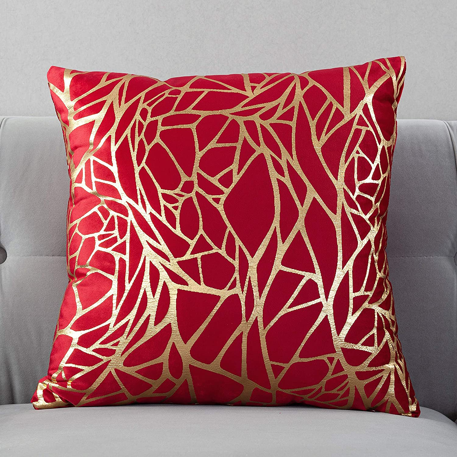TAOSON Pack of 2,Irregular Abstract Lines Geometric Bronzing Printed Cozy Soft Throw Pillow Cases Cushion Covers Shells for Sofa Couch Bed Home Decoration 18 x 18 Inches, Red and Gold