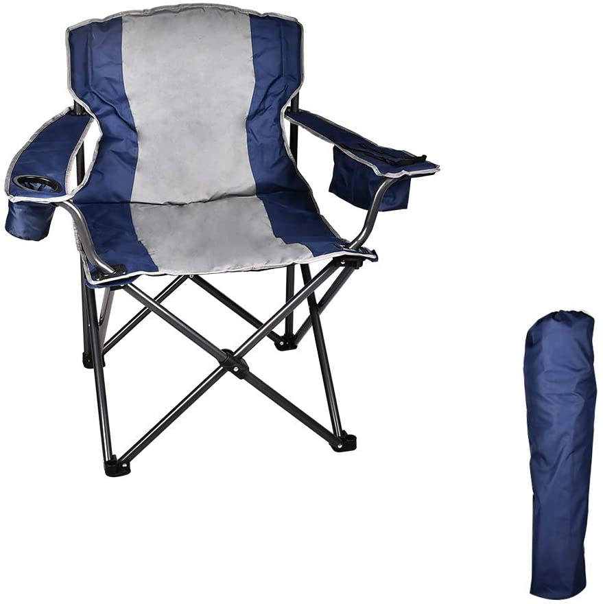 Outdoor Camping Chair, Heavy Duty Folding Chair with Cooler Bag, Adjustable Armrest, Cup Holder, Portable Padded Lawn Chair for Fishing, Hiking, Travelling, Picnic, BBQ