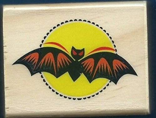 Wooden Rubberized Stamps for Card Making BAT Scary Eyes Moon New Craft Hobby Rubber Stamp