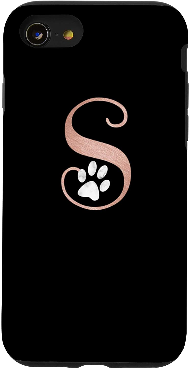 iPhone SE (2020) / 7 / 8 Letter S rose pink, white cat, dog paw monogram, initial S Case