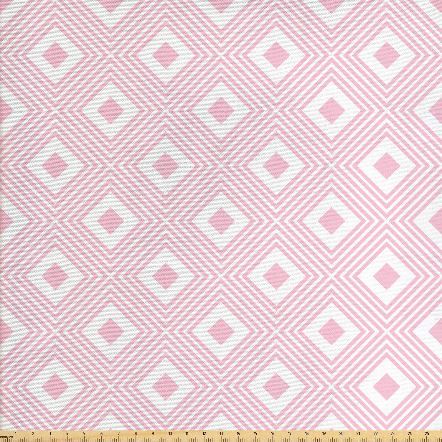 Ambesonne Geometric Rhombus Fabric by The Yard, Pastel Nested Shapes in Soft Colors Continuing Illustration, Decorative Fabric for Upholstery and Home Accents, 1 Yard, Baby Pink and White