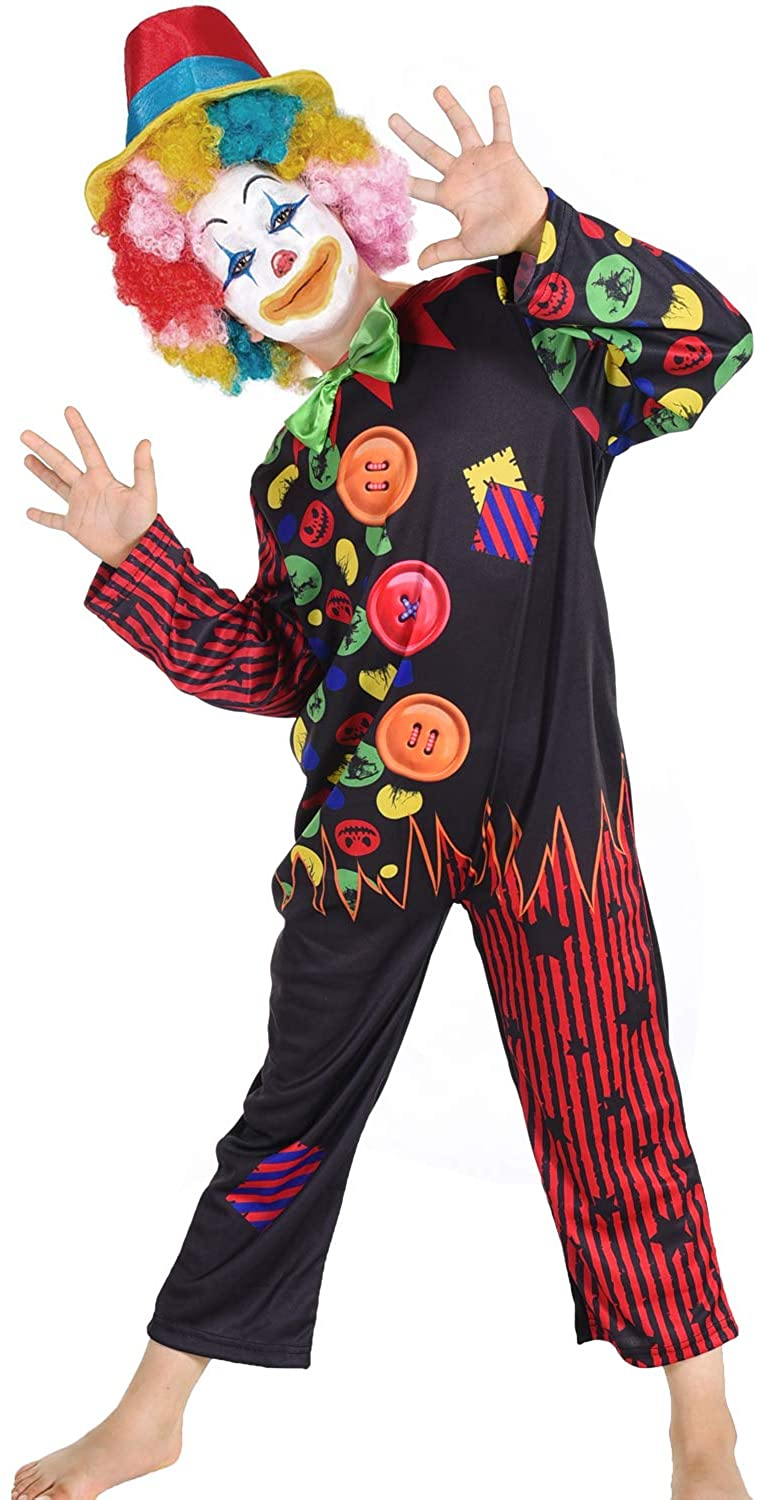 Halloween Clown Costume for Kids Halloween Dress Up Party, Role Play and Carnival Cosplay 4T 6T 8T