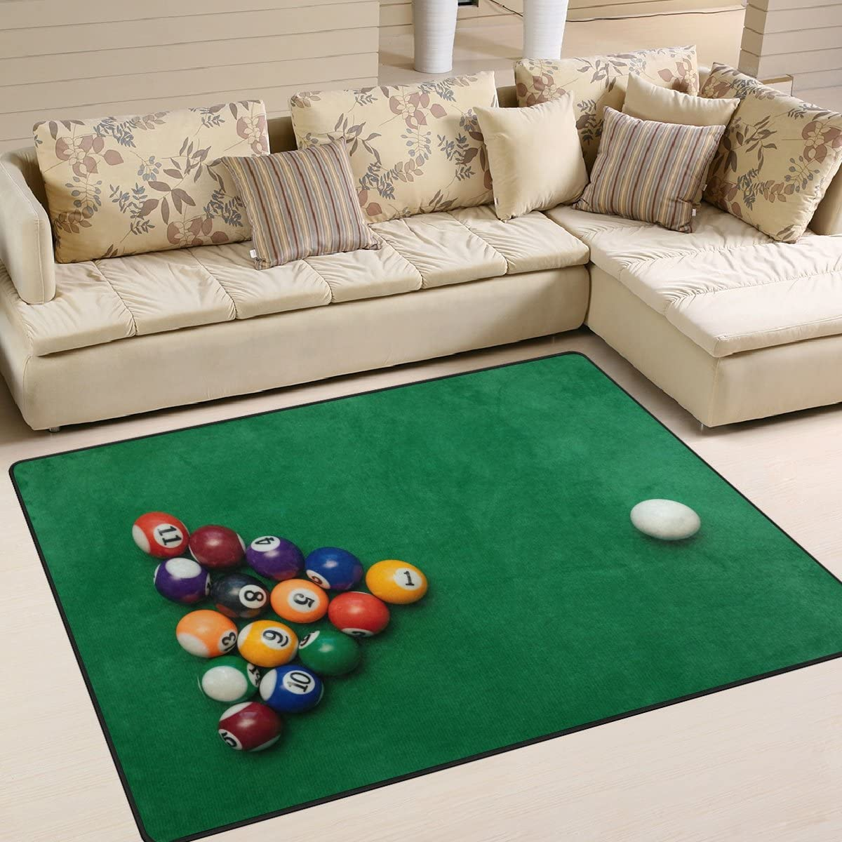 ALAZA American Billiards Pool on Green Table Area Rug Rugs for Living Room Bedroom 5'3