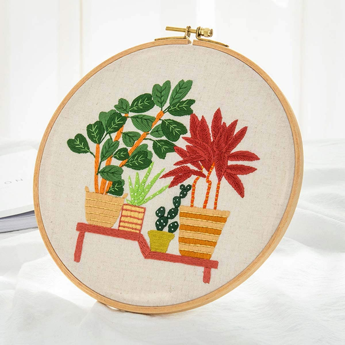 Hand Embroidery Starter Kit Full Range Cross Stitch Set of Stamped with Floral Pattern Embroidery Hoop Color Threads Tools Kit and Instructions (Flower) E-27