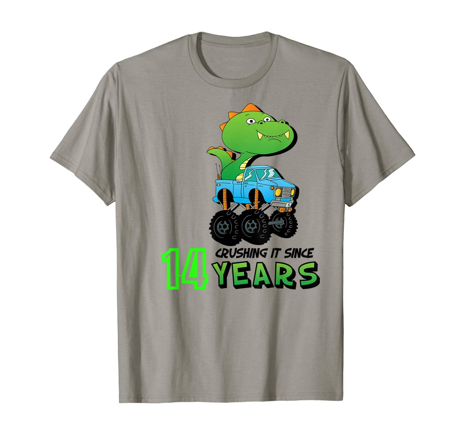 Crushing It Since 14 Years Monster Truck Dinosaur Birthday T-Shirt