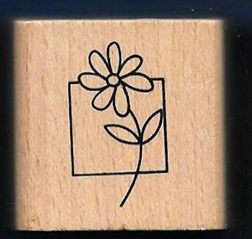 Wooden Rubberized Stamps for Card Making Flower Daisy Square Box Design Art Gift TagNEW Wood Craft Rubber Stamp