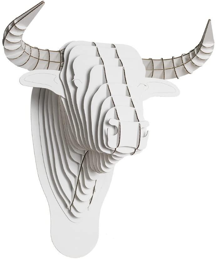 Cardboard Safari Recycled Cardboard Animal Taxidermy Bull Trophy Head, Toro White Medium