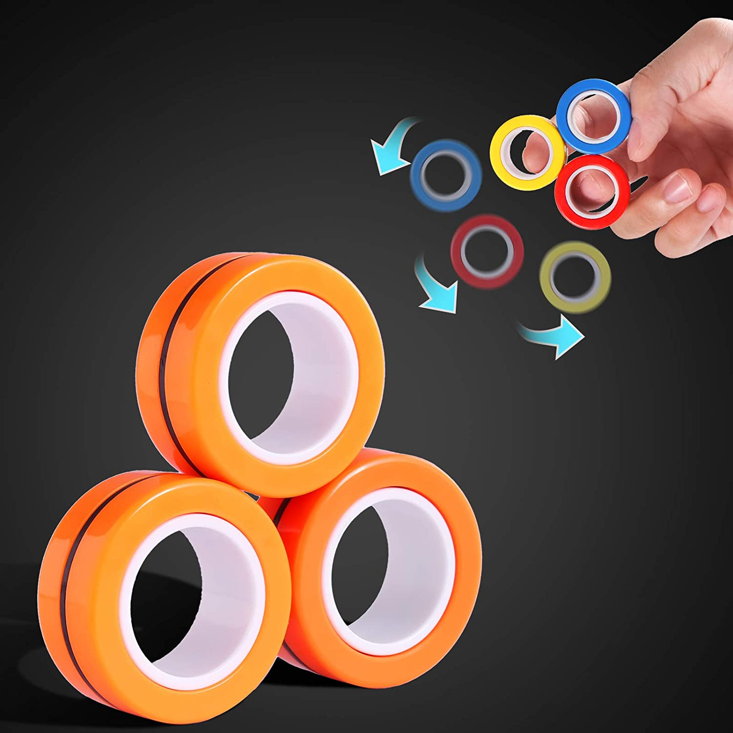 Fingers Magnetic Rings Toys, Magnet Toy Ring Magnet Decompression Magnetic Magic Fidget Rings Magnetic Game Magic Magnetic Toy Durable Unzip Toys Magnetic Ring Magic Trick for Adults Kids